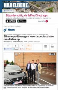 De KITT (Knight Industries Two Thousand) van de politiezoner Gavers in Het Nieuwsblad